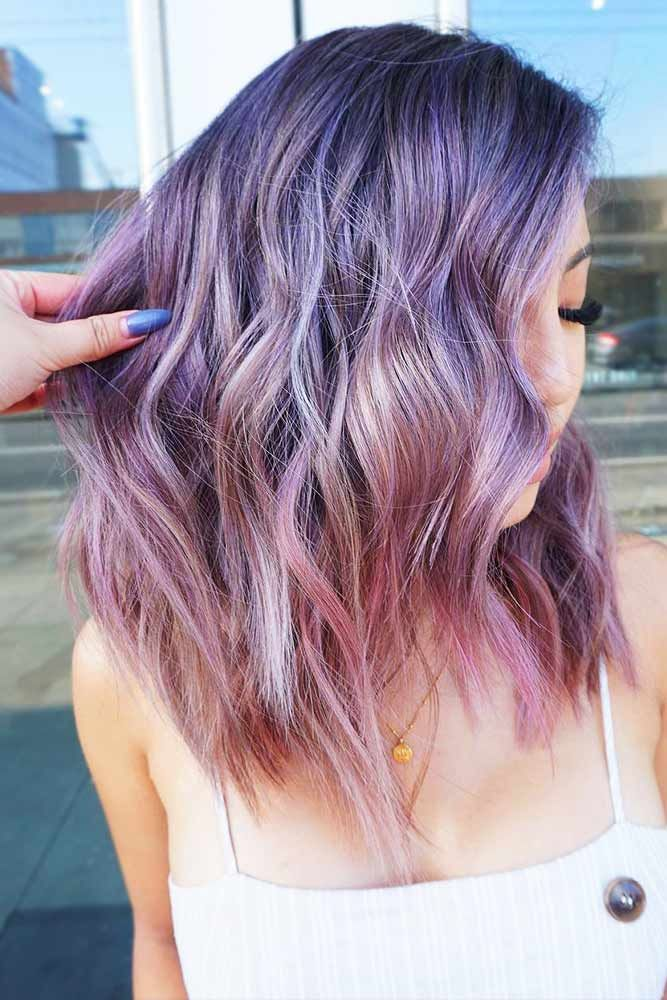 Pastel Violet To Lilac Ombre #temporaryhaircolor #ombre ❤️ Want to brighten ...