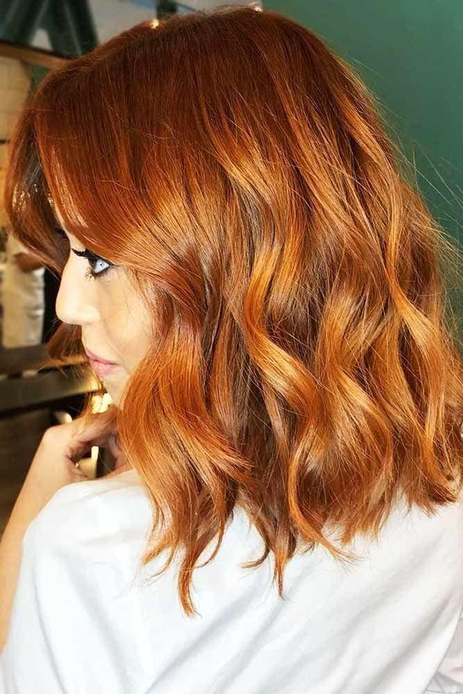 Warm Copper #redhair #wavyhair #mediumhair ❤️ A dark, light, ombre or balaya...