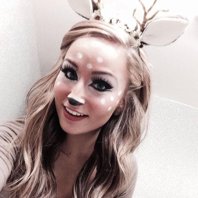 8 pretty halloween makeup ideas - doe-eyed deer with an antler + ear headband