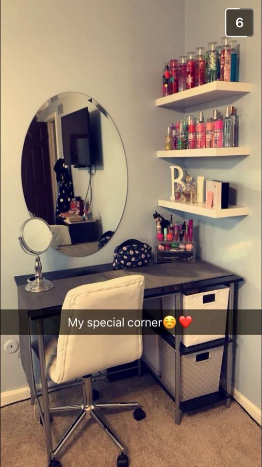 Corner vanity spot. Would use different mirror and vanity but like shelves and f...