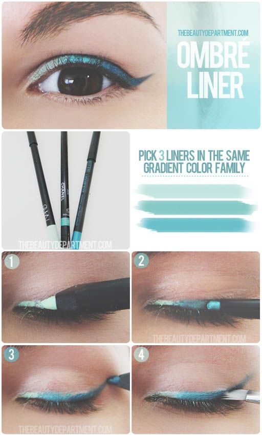 For an easy ombré liner, use three liners from the same gradient color group an...