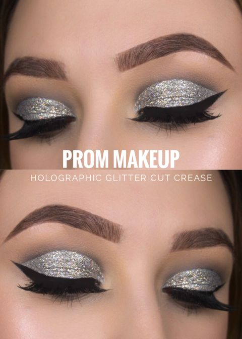 Holographic Glitter Cut Crease Prom Makeup Tutorial , Ideas , Looks Marie Appelt...