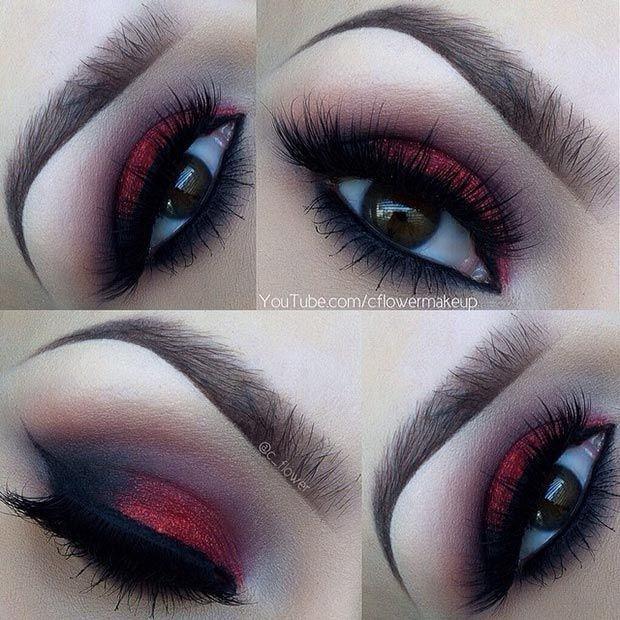 Red Glitter & Black Eyeshadow Makeup Look