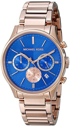 Michael Kors Chronograph Blue Dial Rose Gold-tone Mens Watch MK5911 ** You can f...