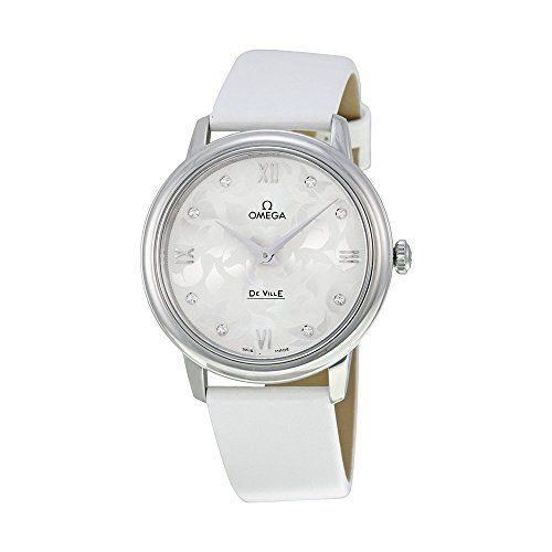 Omega De Ville White Diamond Dial White Satin Ladies Watch 42412336052001 *** Re...