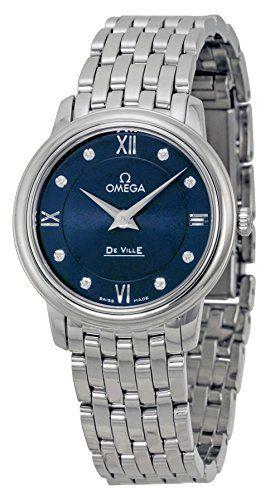 Omega DeVille Prestige Blue Diamond Dial Stainless Steel Ladies Watch 4241027605...