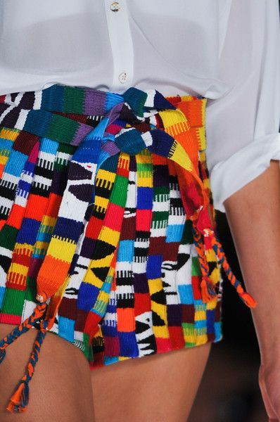 Mara Hoffman Spring 2014 | Guatemalan textile tribal shorts