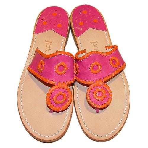 Orange and Fuschia Jack Rogers sandals