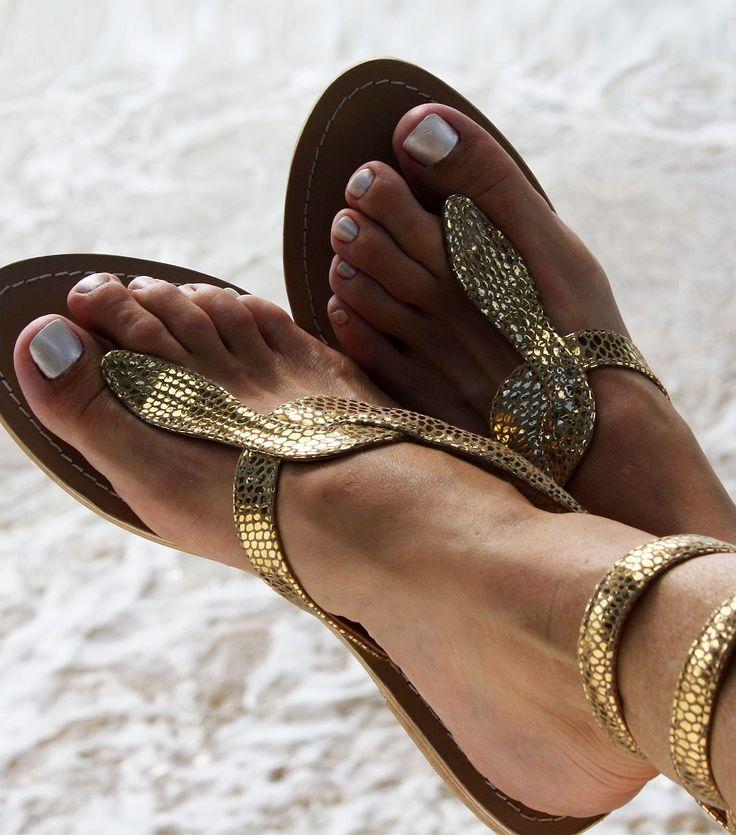 gold snake sandals @}-,-;--