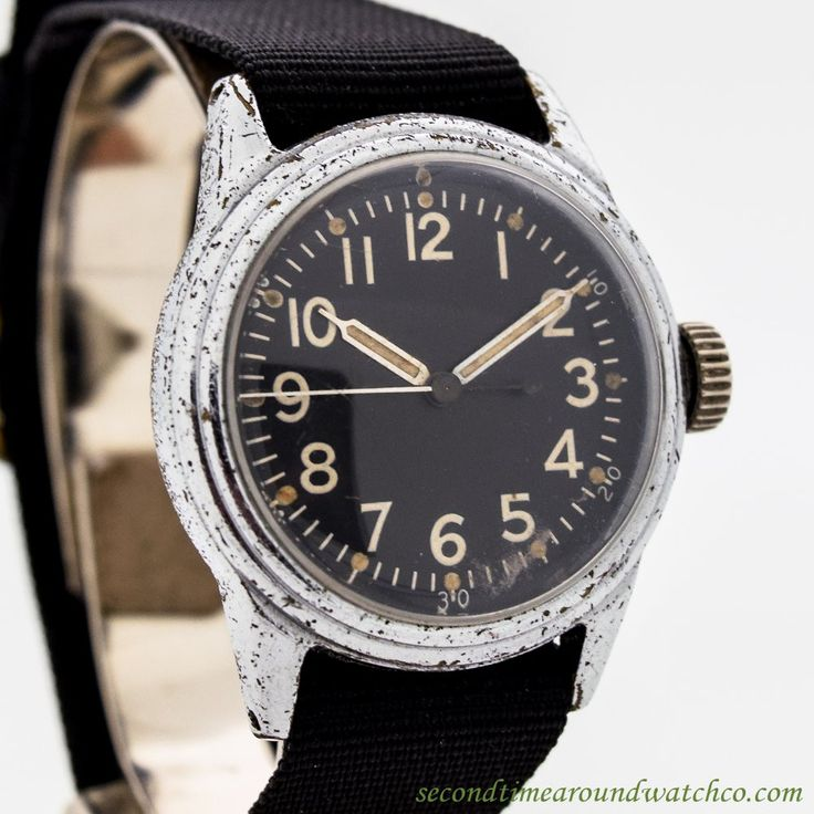 1942 Vintage Elgin Military WWII Chrome Base Metal watch with Original Dial and ...