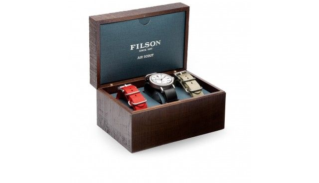 Based on the classic Filson Scout Watch, the Air Scout features a dial backgroun...