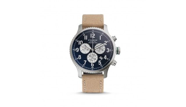 Built for outdoorsmen, this chronograph watch has a screw-down crown, sapphire c...