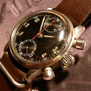 Early Vintage Breitling 2 Register Military Style Chronograph