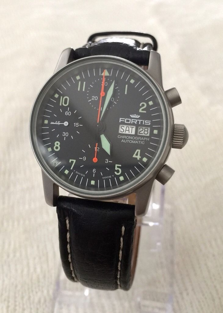 Fortis Flieger Valjoux 7750 Automatic Chronograph Day Date Pilot Military Watch ...