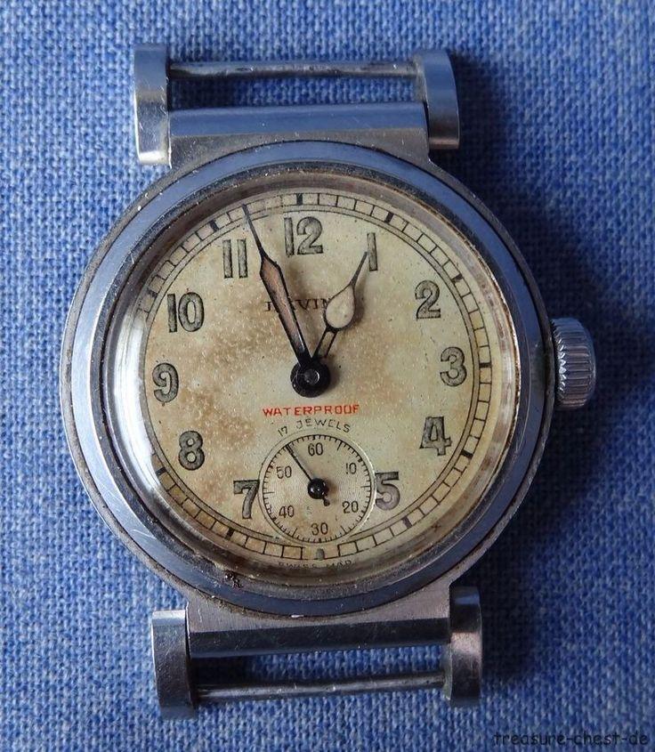Rare Vintge Art Deco Lavina Swiss Mens Watch, Military Raduim Dial, S/S case