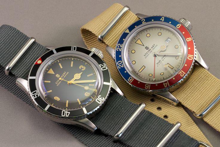 Steinhart Vintage line watches - Ocean 1 diver & Dual Time GMT automatics. Stain...