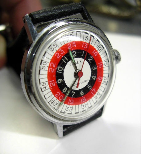 Timex RARE 24hr 12hr Military Red Black White Dial Vintage Mens Watch Runs   eBa...