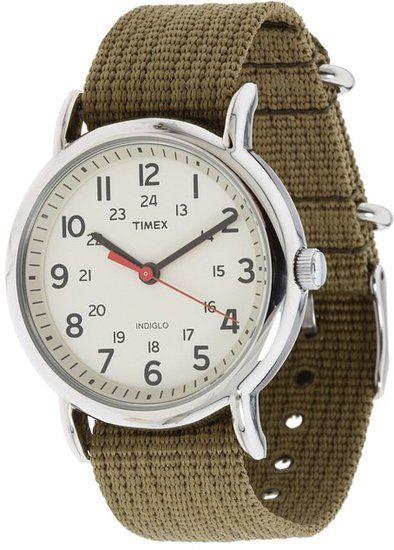 Timex---Weekender-Olive-Slip-Through-Strap-Watch-Silver---Jewelry