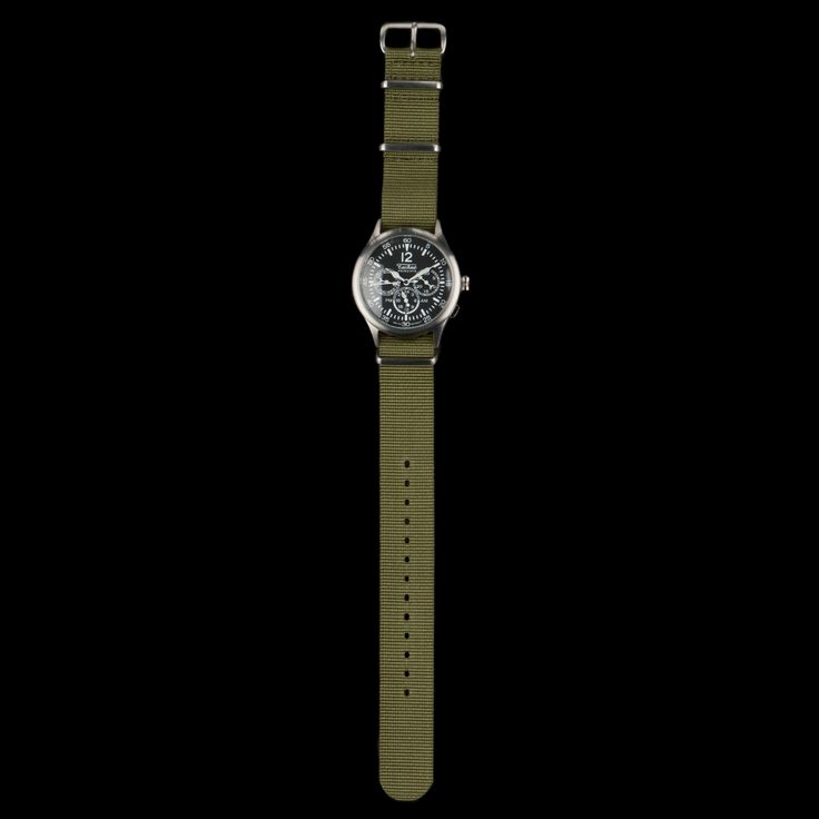 UNIONMADE - Merlin 296 Steal Quartz 280mm Watch with Nylon Strap in Olive