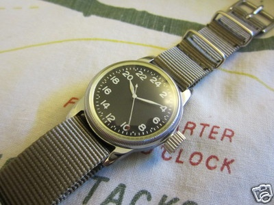 WW2 ELGIN MILITARY 24 HOURS CENTER SECOND WATCH WITH ORIGINAL CASE