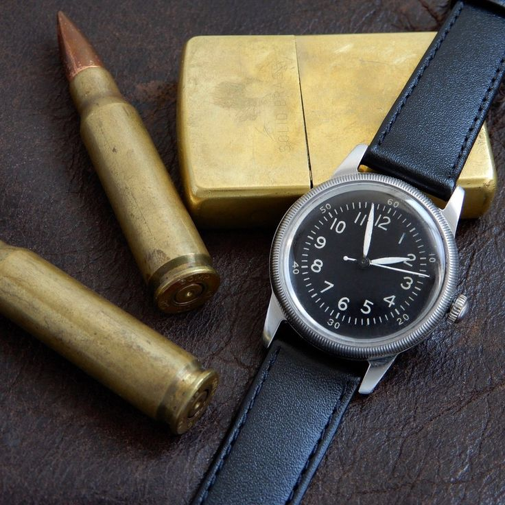 Waltham Type A-17 Military Pilots Watch WWII Issued US Property Black Dial Hack ...
