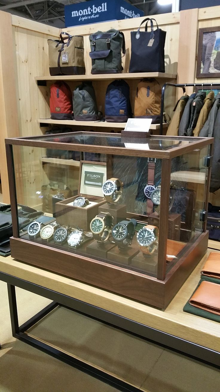 Watch display case for the Shinola/Filson collaboration collection at the Outdoo...