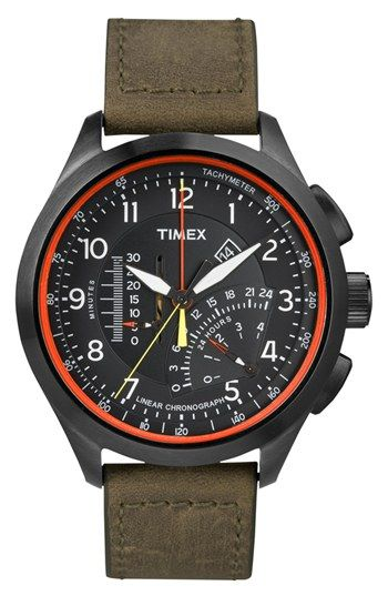 gift for boyfriend!!! Timex® 'Intelligent Quartz' Linear Chronograph Watch, 45m...