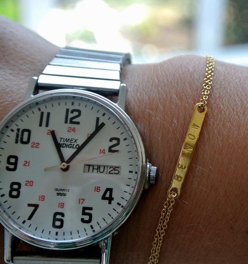 vintage timex watch & dainty bracelet