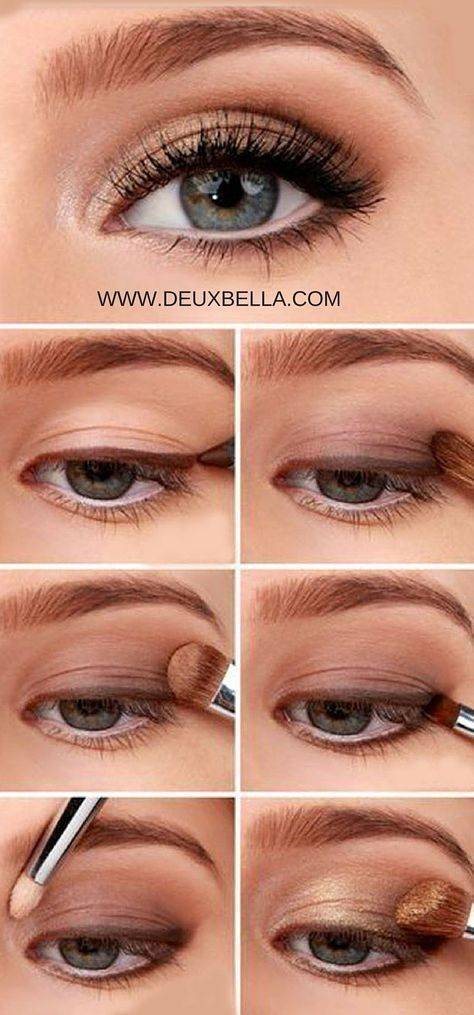 Easy Natural Eye Makeup anyone can do. Step by step eye makeup how-to. This site...