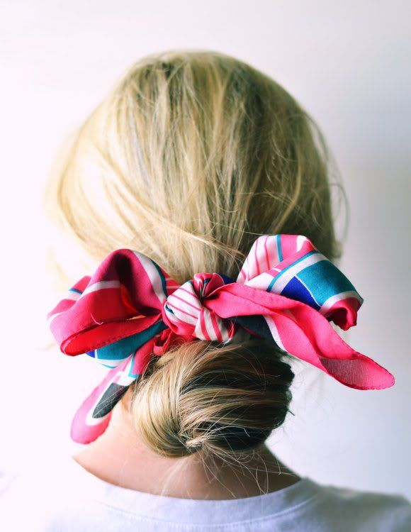 If a giant bun is your current go-to, give it an upgrade with a festive scarf.