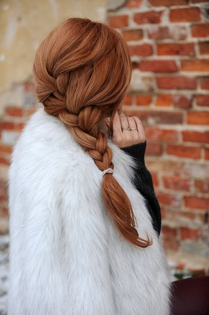 Red braided hair.