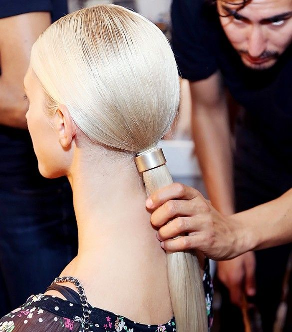 Sleek metal ponytail cuffs are on-trend this fall season.