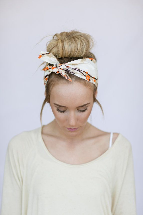 Try knotting a headscarf with a high bun. // Bonus: this style is great for both...