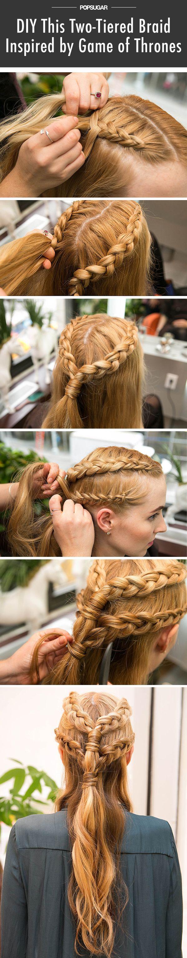 Two-tiered braids tutorial (via POPSUGAR Beauty) // #hair