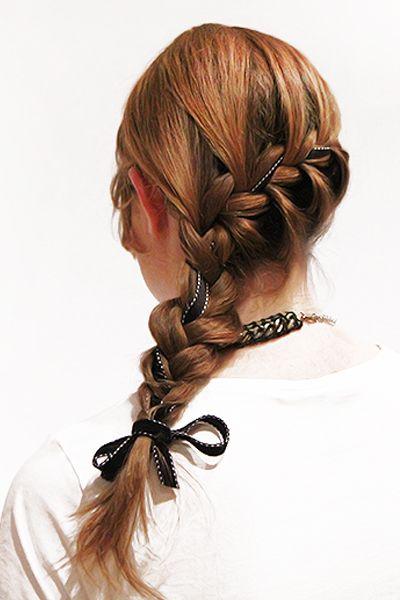 waterfall braid with ribbon
