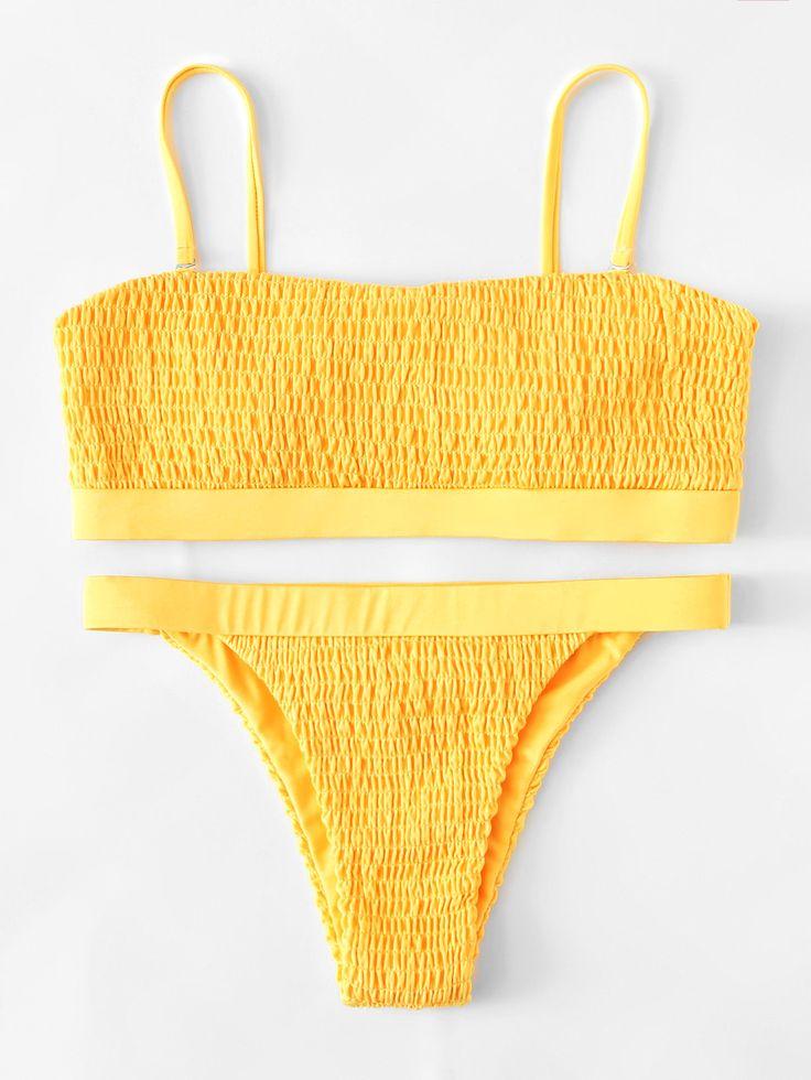 Shop Adjustable Straps Ruched Bikini Set online. SheIn offers Adjustable Straps ...