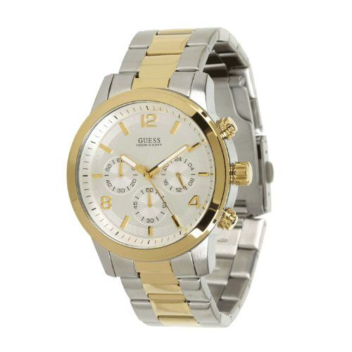 GUESS Mens U0123G2 TwoTone Chronograph Watch * You can get more details by click...