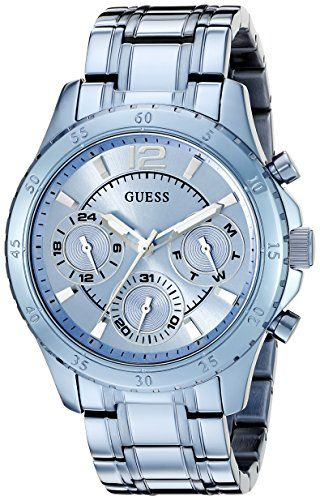 GUESS Women's U0704L2 Iconic Sky Blue Watch with Multi-Function Dial -- Chec...