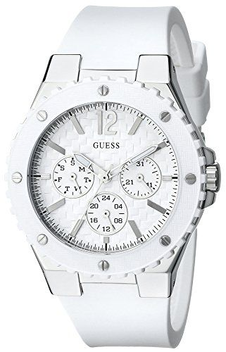 GUESS Womens U10657L1 CarbonFiber Inspired White  SilverTone Sport Watch *** You...