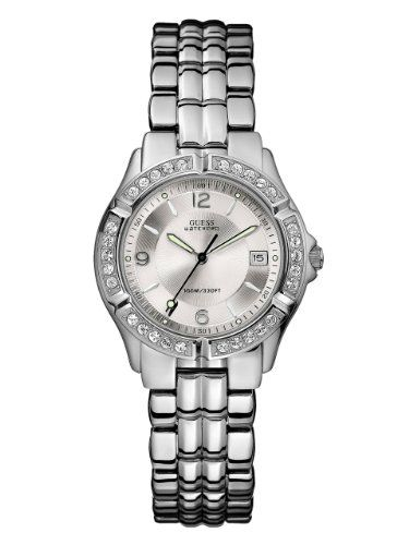 GUESS Womens G75511M Sporty SilverTone Stainless Steel MultiFunction Watch with ...