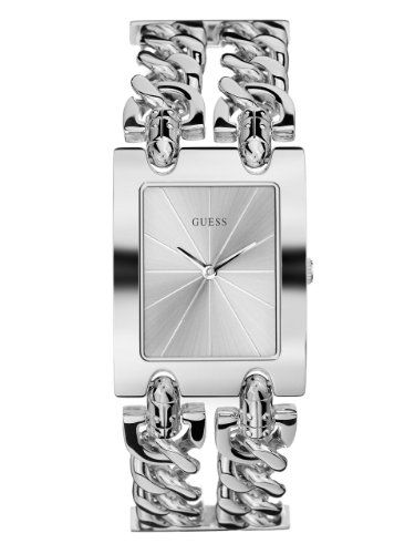 GUESS Womens G75916L SilverTone Chain Watch with SelfAdjustable Bracelet ** You ...
