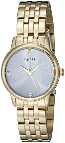 GUESS Womens U0533L2 Dressy GoldTone Watch with Genuine Crystals  SelfAdjustable...