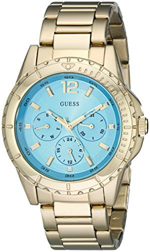 GUESS Womens U0590L2 Stainless Steel  GoldTone MultiFunction Watch with Turqoise...
