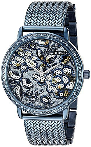 GUESS Womens U0822L3 Trendy Blue Watch with Blue Dial  CrystalAccented Bezel and...