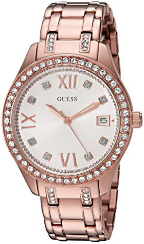 GUESS Womens U0848L3 Sporty Rose GoldTone Watch with Silver Dial  CrystalAccente...