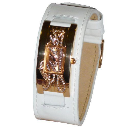 Guess Womens W10257L1 White Patent Leather Band Rose Gold Tone Watch * You can f...