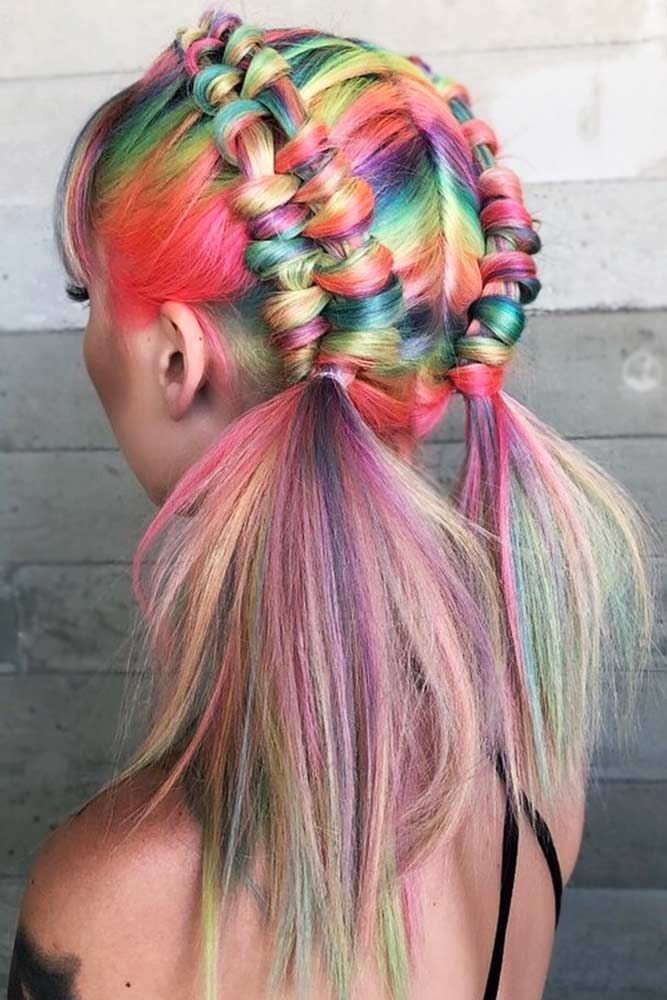 Classic Rainbow Coloring #unicornhair #rainbowhair ❤️ Want to pull off unico...