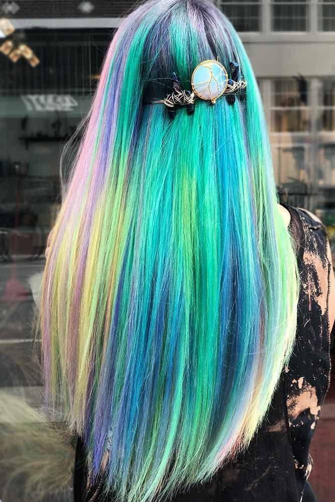 Green Accent Unicorn Hair #unicornhair #greenhair ❤️ Want to pull off unicor...