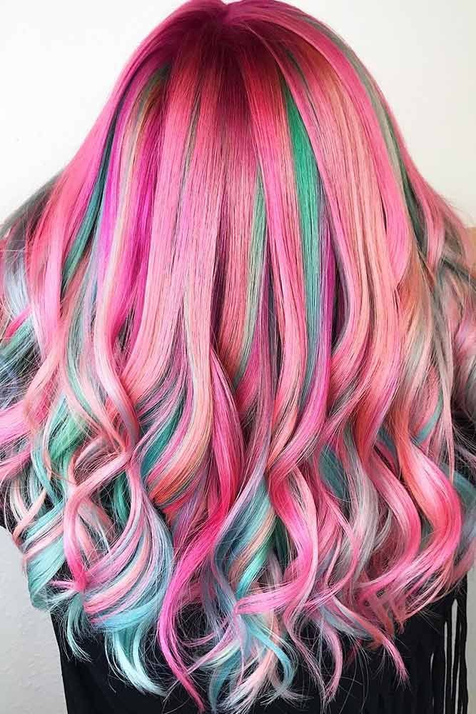 Green Highlights With Pink Base #unicornhair #highlights ❤️ Want to pull off...