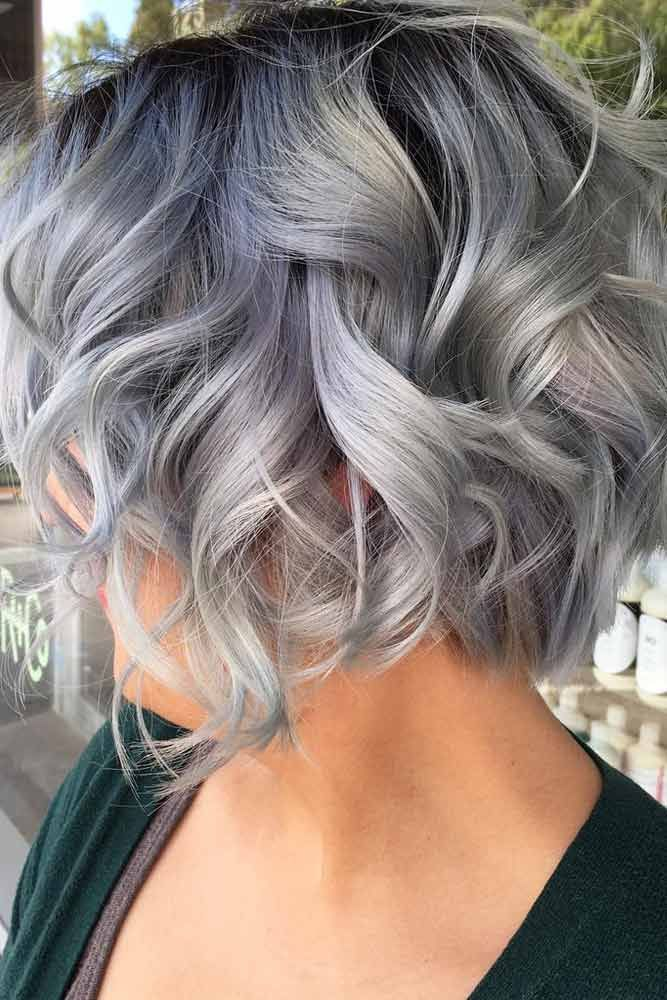 Layered Wavy Short Bob  #shortgreyhair #shorthaircuts #greycolor #bobhairstyle #...